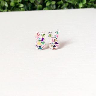 *Haku‧Neko*Mosaic color painted bunny earrings Ear