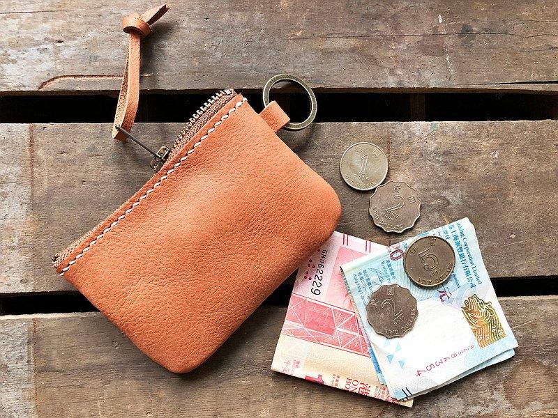 經典拉錬零錢包 好好縫 皮革材料包 免費刻名 手工包 散紙包 情侶