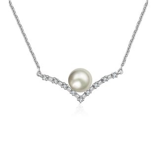 Double Curve Diamond Necklace With Pearl