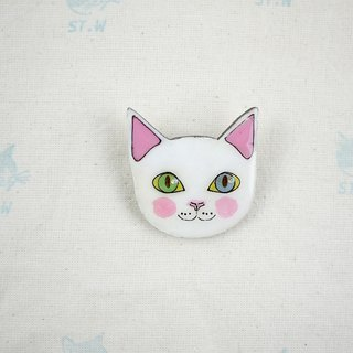 Smiling cat - white cat pin