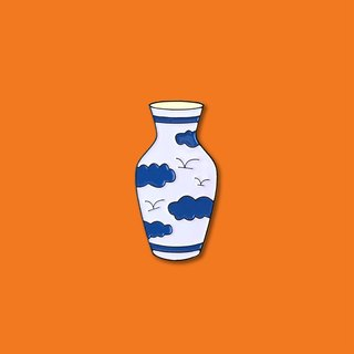 Blue & White Vase Pin