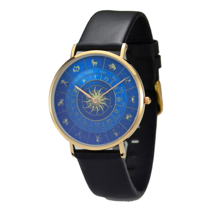 Classic Minimalist 12 Constellation Circle Watch Blue Free Shipping Worldwide