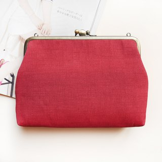 Mom said brick red two shoulder bag / mobile phone package / gold package [Made in Taiwan]