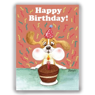 Hand-painted illustration Universal / birthday card / postcard / card / illustration card - puppy blowing candles Migliu
