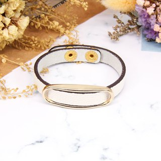 White Lovers │ Beige Leather Metal Single Buckle Bracelet │ Bracelet