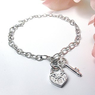 Love Lock & Key sterling silver bracelet