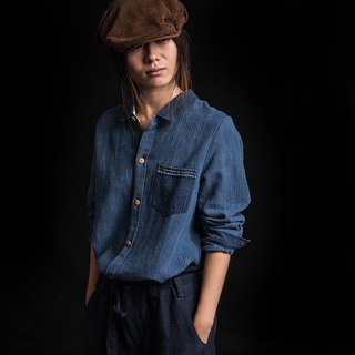 Plant dyed indigo hand-woven cloth sling long-sleeved shirt / orphan