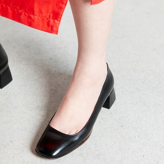 H THREE classic square heel shoes / black / thick heel / retro