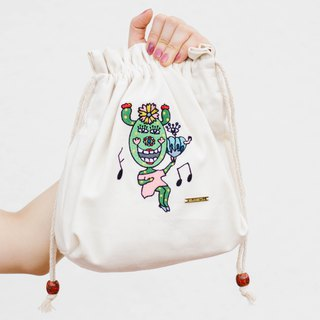 Illustrator X Embroidered Cotton Canvas Crossbody Bag - Jumping Happy Dance