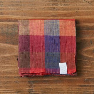 Rummy dyed check handkerchief orange × red