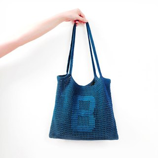 Customized Alphabet Crochet Tote Bag | Ocean