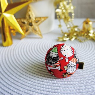 Lovely [Japanese cloth] 2 Santa Claus buckle hair clips, scarf clips, scarf clips, red bottom