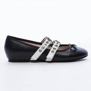 [Saint Landry] LAND rock style buckle design ballet shoes - wild black