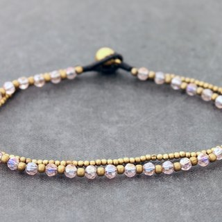Pink Crystal Anklets Brass Strand Simple Cute Ankle Jewelry