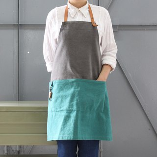 DailyAPRON dual colour washed canvas apron with leather strap Dark Grey Greenish