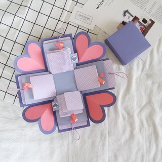 Sweet Home Gift Box Card - afternoon pink purple x two-sided page pull-card version - handmade cards / Valentine's Day cards / explosion cards / explosion box