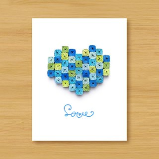 Hand-rolled paper 8bit card _ colorful mosaic love... Valentine card, mother card, father card