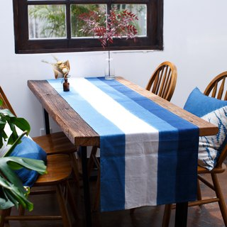 It is better to go to the Qingshan tea table table flag bed bed bed towel tea cloth natural blue dyed gradual dyed pure linen cloth