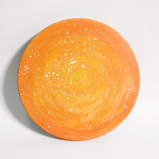 Starry Hand Painted Coaster / Orange Planet