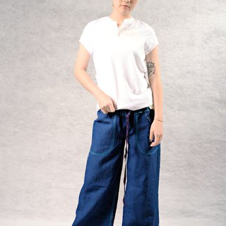 Jumping color line handsome wide pants