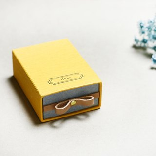 Hope  // Yellow) Sliding Box Leather ribbon 気持ちを伝える小さな箱