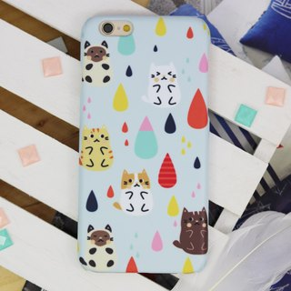Cat Kitten Raindrop Matt hard Phone Case : iphone X 8+ S8 plus 7+ 6 Samsung S8 +