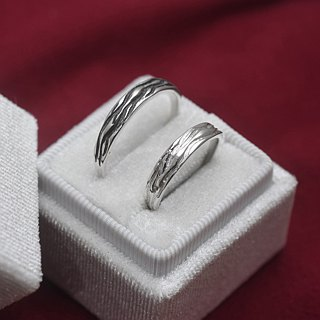 Fine water long flow (sterling silver couple ring lettering ring Valentine's Day gift) ::C% handmade jewelry::