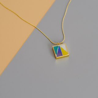 Triangle Handmade Mosaic Mosaic Gold Plated Necklace 925 Silver Gold Plated Contrast Geometric Long Chain