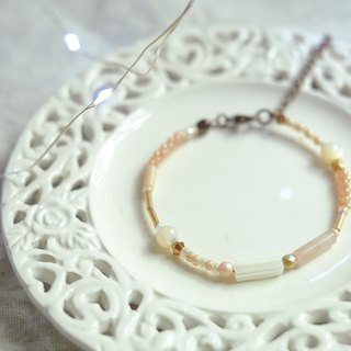 Jt Corner Orange Pink Agate White Beads Glass Beads Brass Bangles Bracelets Valentine's Day gifts