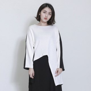 Plate plate asymmetric stitching top_7AF010_Black/White
