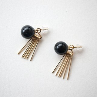 Onyx & fringe 2way pierce 14kgf onyx and fringe 2way Earrings