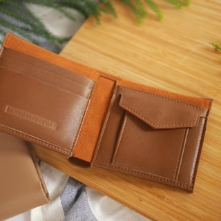 "WHITEOAKFACTORY Handmade PU leather Plain ""RICHE"" wallet - Tan."