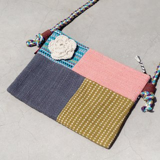 A limited edition hand-woven natural spliced ​​messenger bag / backpack / shoulder bag / bag / bag - Mondrian pale pink patchwork design
