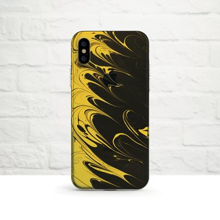 Ebru Art, Mustard Yellow and black, iPhone Xs Max, Xr to iPhone SE/5, Samsung