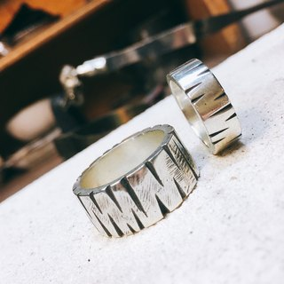 Wide version of ring to ring - bark 925 silver