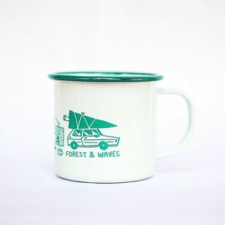 Forest & Waves enamel cup / Forest Green