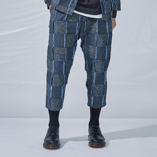 DYCTEAM - Plaid Jacquard Pants 丹寧緹花3D格紋八分褲