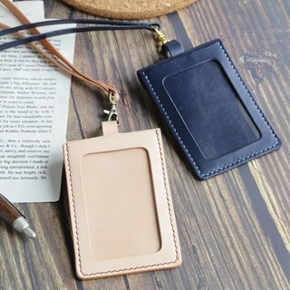 艺创小室 | Straight deep blue vegetable tanned leather ID card identification card holder gift