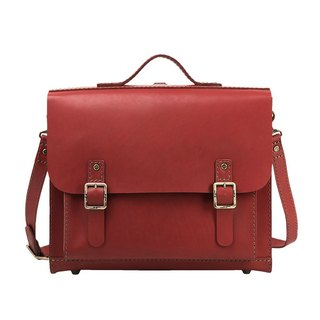 JIMMY RACING Wall Street Storm Leather Portable Crossbody Shoulder Briefcase - Crimson 0502117