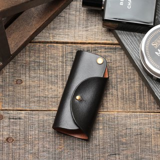 Minimal ochre black hand dyed yak leather handmade copper hardware key case