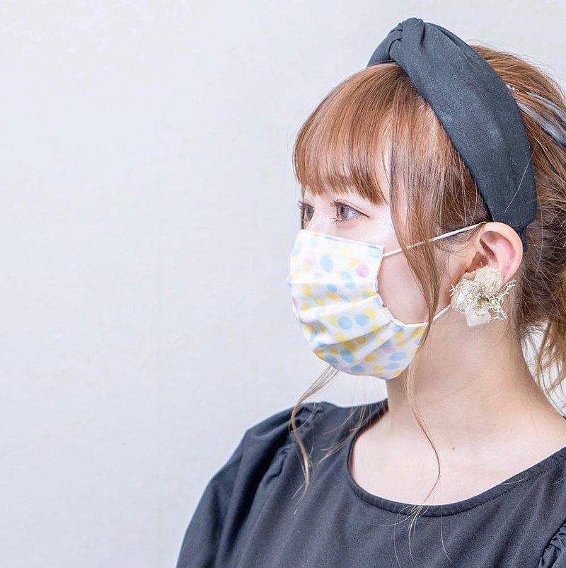 手工立體口罩 可洗滌 日本製純棉二重紗布 點點 黃色 成人
