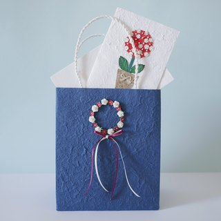 Paper flower, 1 Gift paper flower wreath bag, navy blue, size 8x12 inches., 1 greeting paper flower card size 5x7 inchs. Handmade.