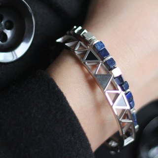 Bluestone silver. Natural ore sterling silver bracelet bracelet natural lapis lazuli mysterious blue simple texture