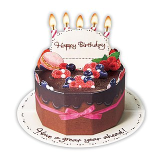 Blueberry Chocolate Birthday Cake [Hallmark - Stereo Card Birthday Blessing]