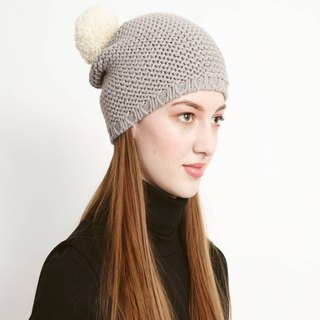 British / Miss PomPom / Super POM pompoms wool cap / ash