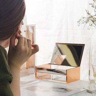 Rose Gold Acrylic Jewelry Organizer Box (Magic Mirror Box)