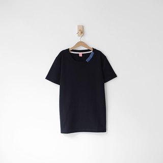 Black Neckline Denim Fabric Splicing Short Tee - Size Qi