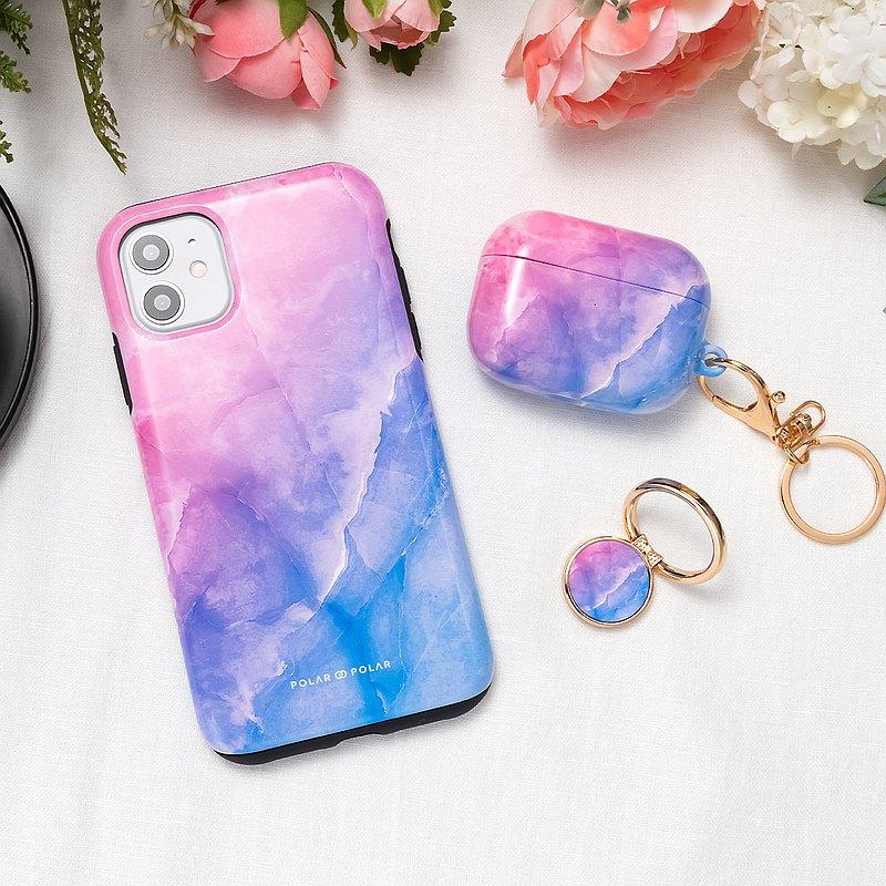 iPhone / Samsung 防摔手機殼 粉紅藍雲石紋