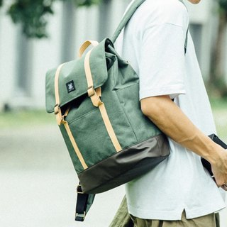 Gift/Design Urban Backpack with Leather Trim - Green
