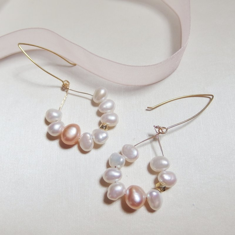 Dancing Pearl Earrings - Pink tone